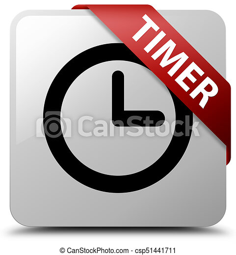 Timer white square button red ribbon in corner - csp51441711