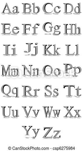 Times New Roman Grey Alphabet