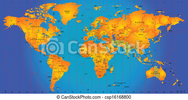 Timezone map. World timezone map vector illustration. on