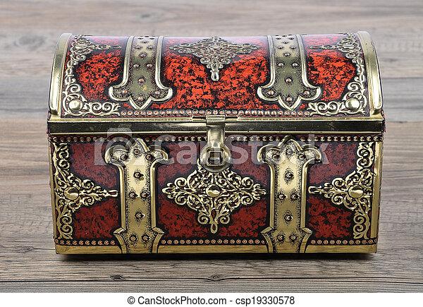 Tin box on wood - csp19330578