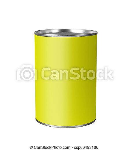 Tin can with yellow label isolated on white. - csp66493186