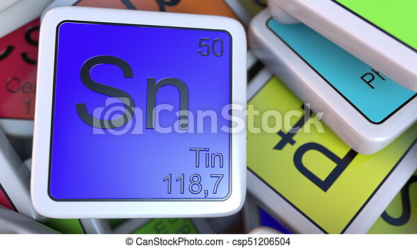 Tin Sn Block On The Pile Of Periodic Table Of The Chemical Elements