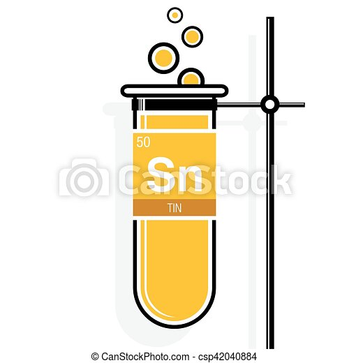 Tin symbol on label in a yellow test tube with holder vector tin symbol on label in a yellow test tube with holder element number 50 of urtaz Image collections
