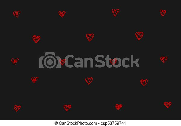 Tiny red hearts on black background - csp53759741