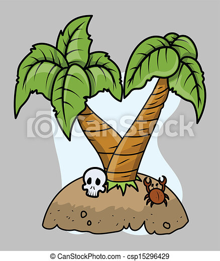 Tiny Tropical Island Vector - csp15296429