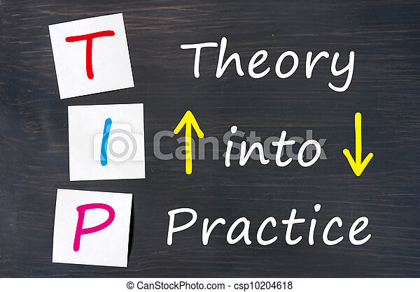 TIP acronym for theory into practice written on a blackboard - csp10204618