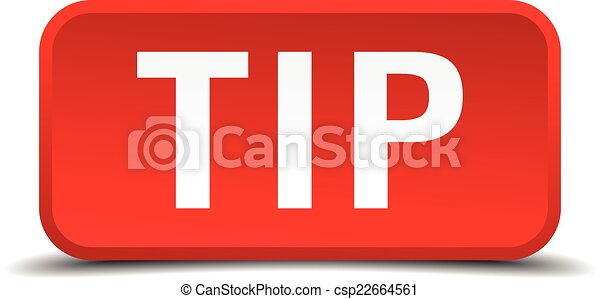 Tip red 3d square button isolated on white - csp22664561