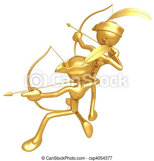 tipo, arqueros, oro - csp4054377