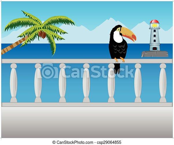Balcón con tipo en el mar - csp29064855