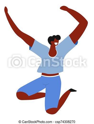 tipo feliz, hombre, sentimiento, emoción, alegre, saltar - csp74308270