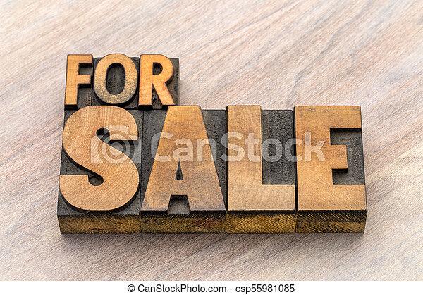 tipo, legno, bandiera, vendita - csp55981085