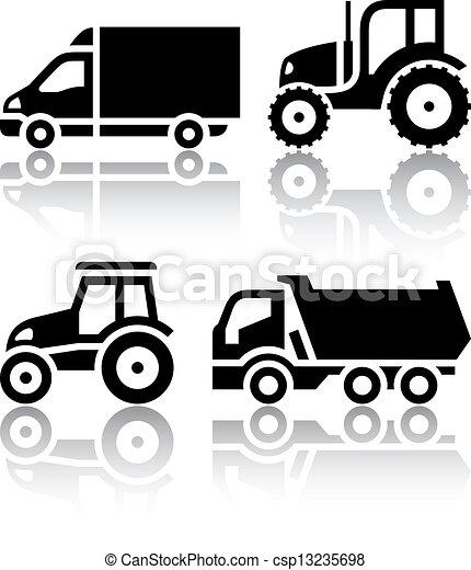 tipper, jogo, ícones, -, transporte, trator - csp13235698
