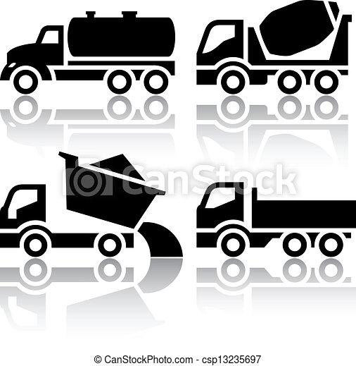 tipper, set, icone, -, miscelatore, concreto, carreggiare trasporto - csp13235697