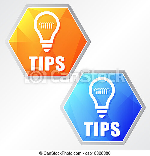 tips and bulb symbol, two colors hexagons web icons - csp18328380