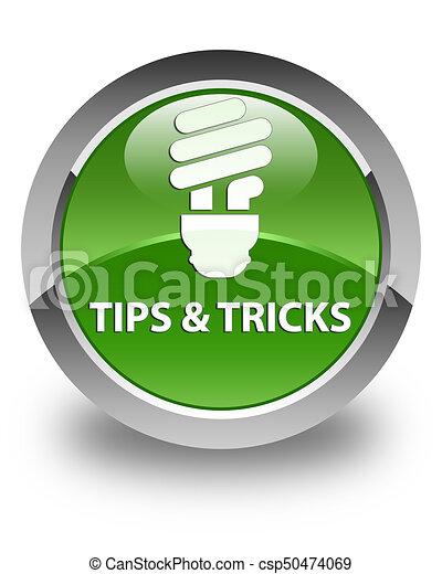 Tips and tricks (bulb icon) glossy soft green round button - csp50474069