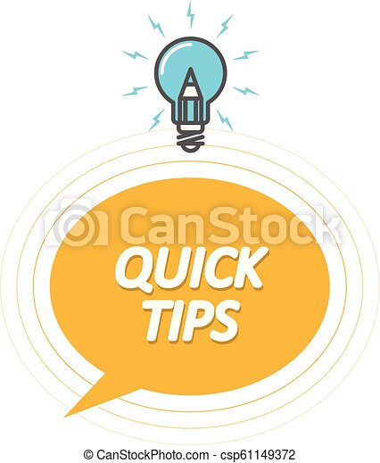 Tips and tricks symbol - Quick Tips icon with light bulb, speech bubble - csp61149372