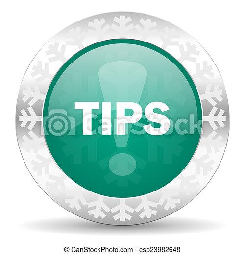 tips green icon, christmas button - csp23982648