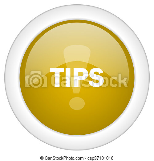 tips icon, golden round glossy button, web and mobile app design illustration - csp37101016
