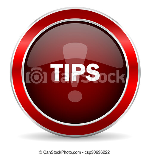 tips red circle glossy web icon, round button with metallic border - csp30636222
