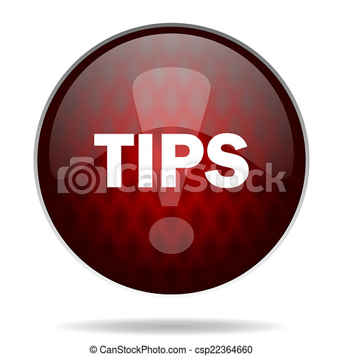 tips red glossy web icon on white background - csp22364660