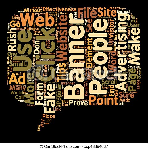 Tips to create banners that make people rush to your website text background wordcloud concept - csp43394087