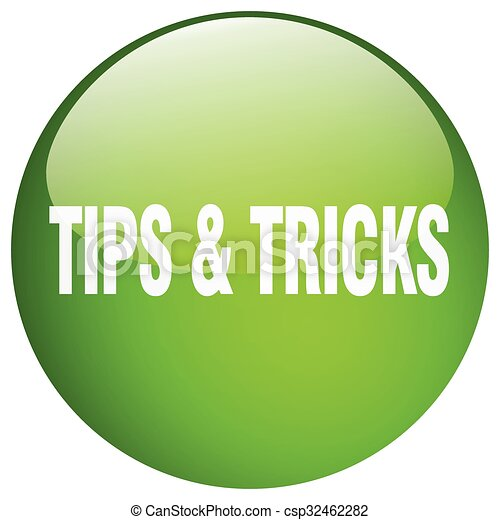 tips & tricks green round gel isolated push button - csp32462282