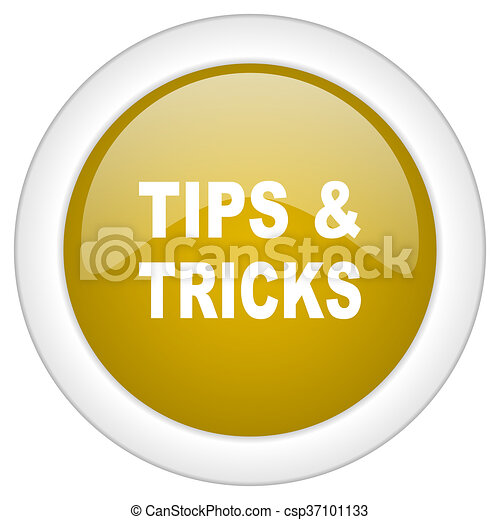 tips tricks icon, golden round glossy button, web and mobile app design illustration - csp37101133