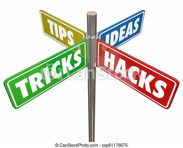 Tips Tricks Ideas Hacks 4 Way Signs 3d Illustration