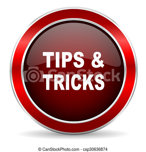 tips tricks red circle glossy web icon, round button with metallic border - csp30636874