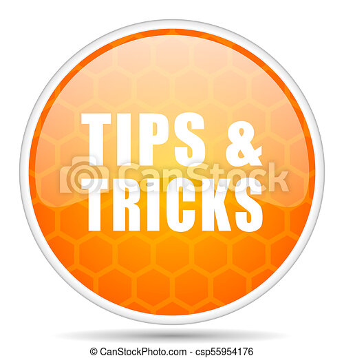 Tips tricks web icon. Round orange glossy internet button for webdesign. - csp55954176