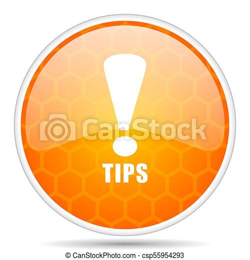 Tips web icon. Round orange glossy internet button for webdesign. - csp55954293