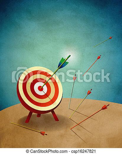 tir arc, flèches, cible, illustration - csp16247821