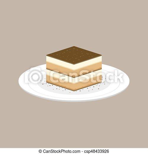 Tiramisu Cake Italian Dessert In Plate Flat Design Vector & Tiramisu cake italian dessert in plate flat design vector vector ...