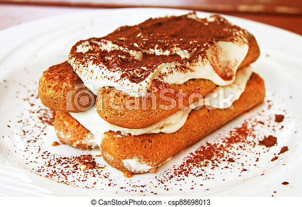 Tiramisu dessert on a plate - csp88698013