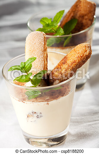 tiramisu in a glass with peppermint leaf - csp8188200