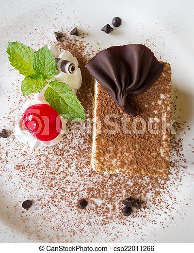 Tiramisu. Tiramisu cake decoration for serving at restaurant. on