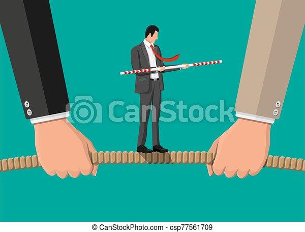 tirar, tirón, soga, dos, war., hombres de negocios - csp77561709