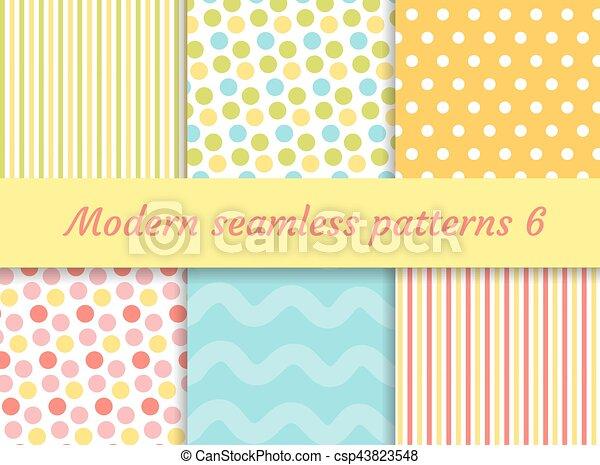 Puntos polares, rayas ondean patrones sin costura. Colección digital de papel, estilo moderno. Kit de recorte. Ilustración de vectores. - csp43823548