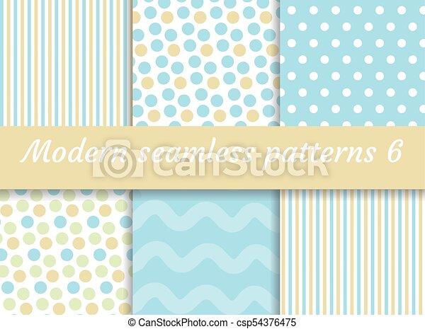 Puntos polares, rayas ondean patrones sin costura. Colección digital de papel, estilo moderno. Kit de recorte. Ilustración de vectores. - csp54376475