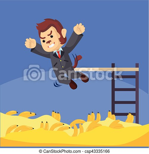 tirata, saltare, affari scimmia, banana - csp43335166