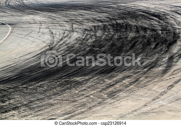 Tire marks on road track - csp23126914