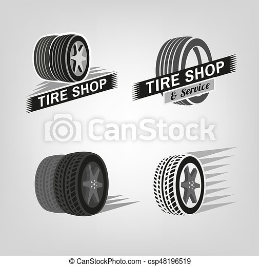 Tire Shop Logo Car Tire Icons Set In Grey Colours Useful For Icon