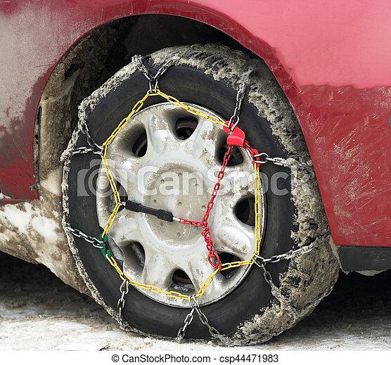 tire snow chains - csp44471983