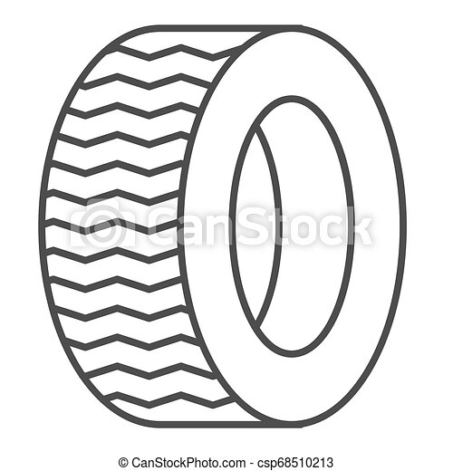 Tire thin line icon. Car wheel vector illustration isolated on white. Auto disk outline style design, designed for web and app. Eps 10. - csp68510213