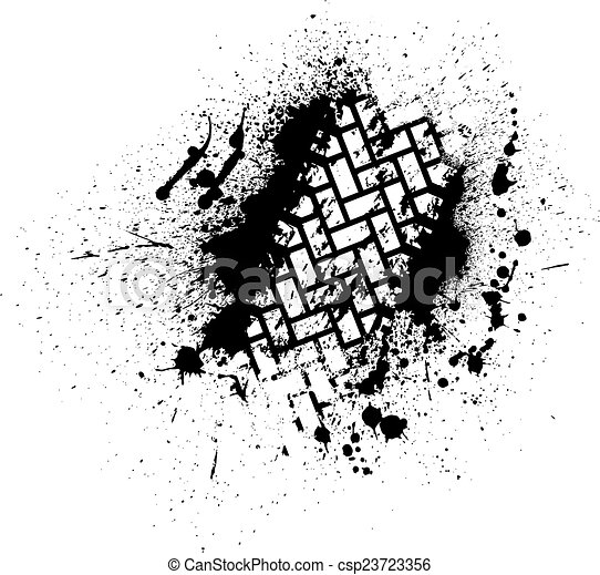 Tire track with ink blots - csp23723356