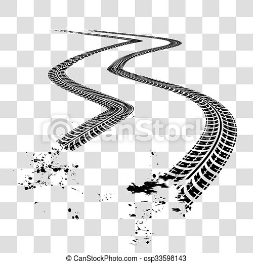 tire tracks vector illustration on checkered background eps vector rh canstockphoto com Mud Tire Tracks Clip Art Off-Road Tire Tracks Vector