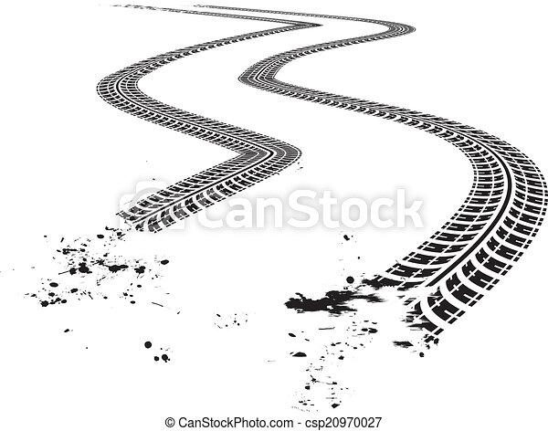 tire tracks vector illustration on white background rh canstockphoto co uk Tire Track Border Clip Art Tire Track Vector Art