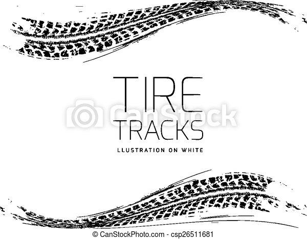 Tire tracks vector background - csp26511681