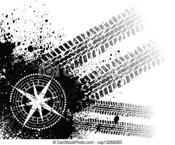 Tire tracks with wind rose - csp13266283