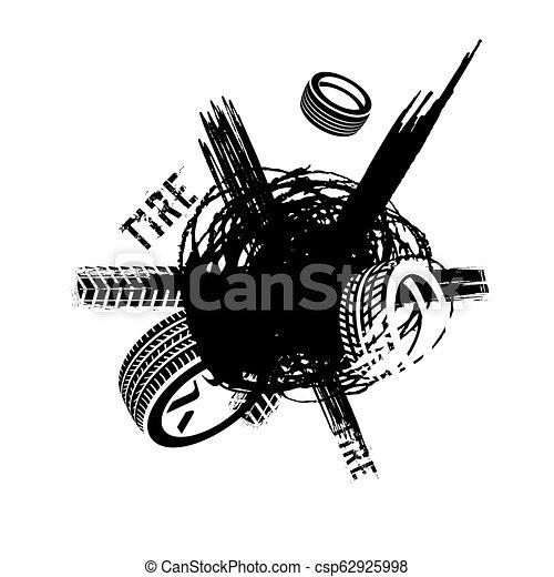 Tire tread marks banner - csp62925998